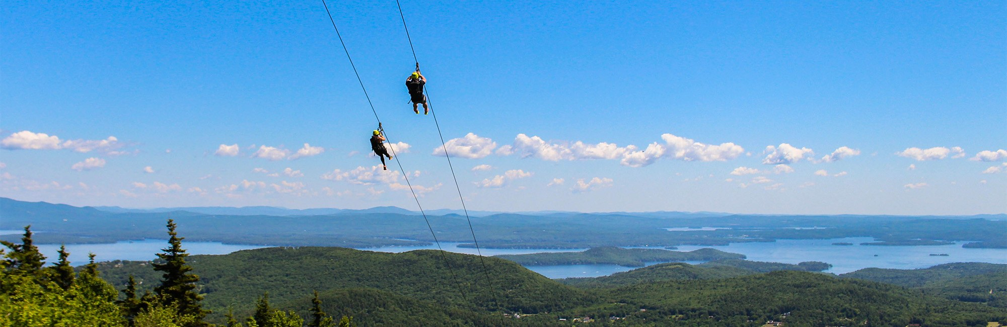 Ziplining in the summer overlooking the lake